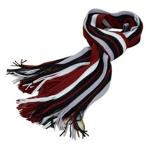Other - Striped Red White Black Tassel Unisex Scarf Wrap